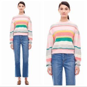 Rebecca Taylor Stripe Puff Sleeve Cropped Sweater